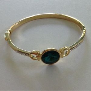SALE NWOT Peermont Gold and Emerald Crystal Bangle